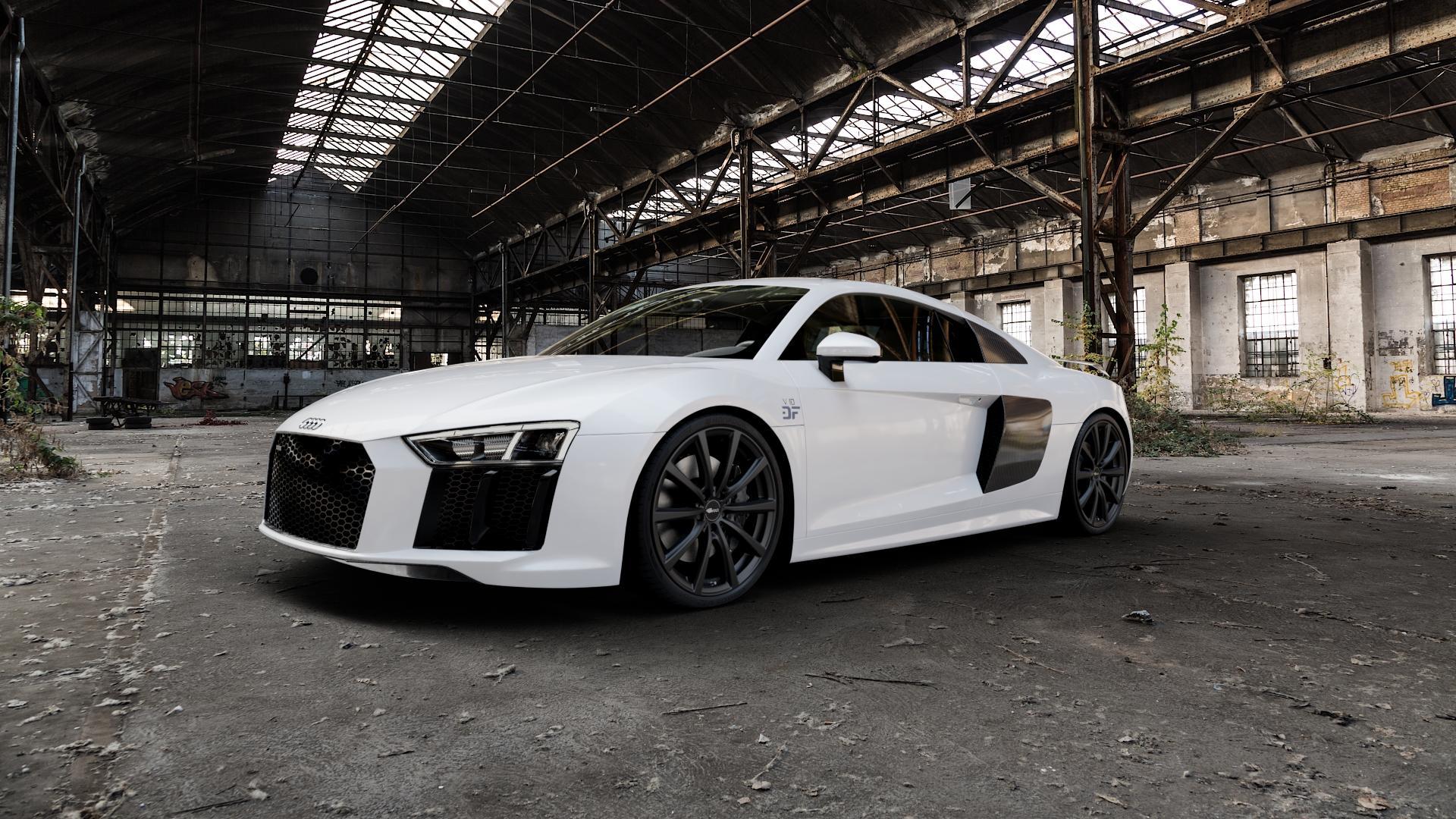 Brock B32 schwarz-matt lackiert Felge mit Reifen in 20Zoll Winterfelge Alufelge auf weissem Audi R8 Typ 4S 15-> Spyder 16-> ⬇️ mit 15mm Tieferlegung ⬇️ Industriehalle 1 Camera_000
