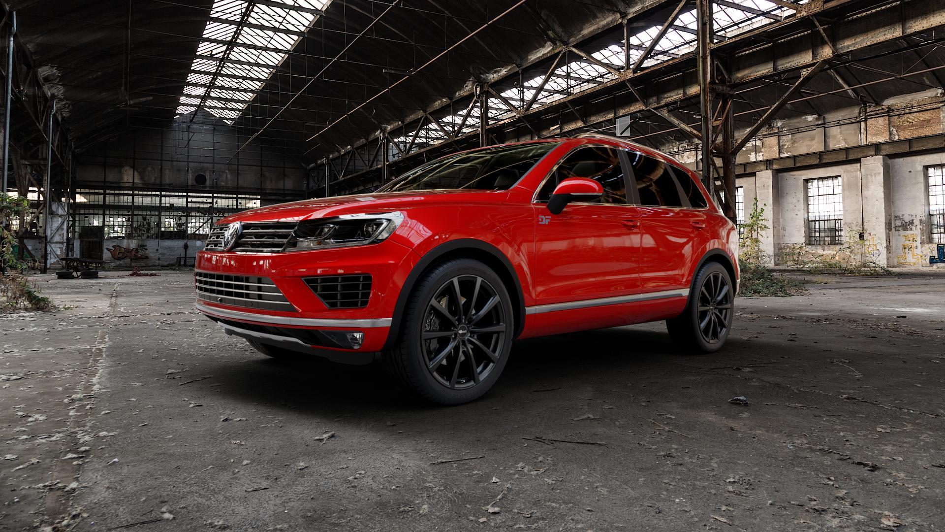 Brock B32 schwarz-matt lackiert Felge mit Reifen in 21Zoll Winterfelge Alufelge auf rotem Volkswagen (VW) Touareg II Typ 7P Facelift ⬇️ mit 15mm Tieferlegung ⬇️ Industriehalle 1 Camera_000