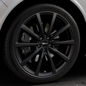 Brock B32 schwarz-matt lackiert Felge mit Reifen in 21Zoll Winterfelge Alufelge auf silbernem Alfa Romeo Stelvio Typ 949 ⬇️ mit 15mm Tieferlegung ⬇️ Industriehalle 1 Thumbnail
