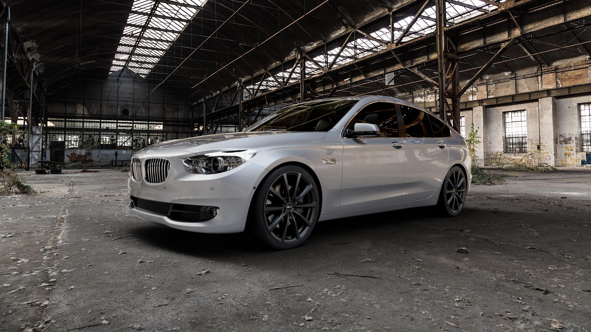 Brock B32 schwarz-matt lackiert Felge mit Reifen in 21Zoll Winterfelge Alufelge auf silbernem BMW 535i GT Typ F07 xDrive 550i 530d 535d 520d 528i ⬇️ mit 15mm Tieferlegung ⬇️ Industriehalle 1 Camera_000