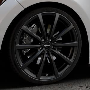 Brock B32 schwarz-matt lackiert Felge mit Reifen in 21Zoll Winterfelge Alufelge auf silbernem Ford Mustang VI Coupe Typ LAE Cabrio ⬇️ mit 15mm Tieferlegung ⬇️ Industriehalle 1 Thumbnail
