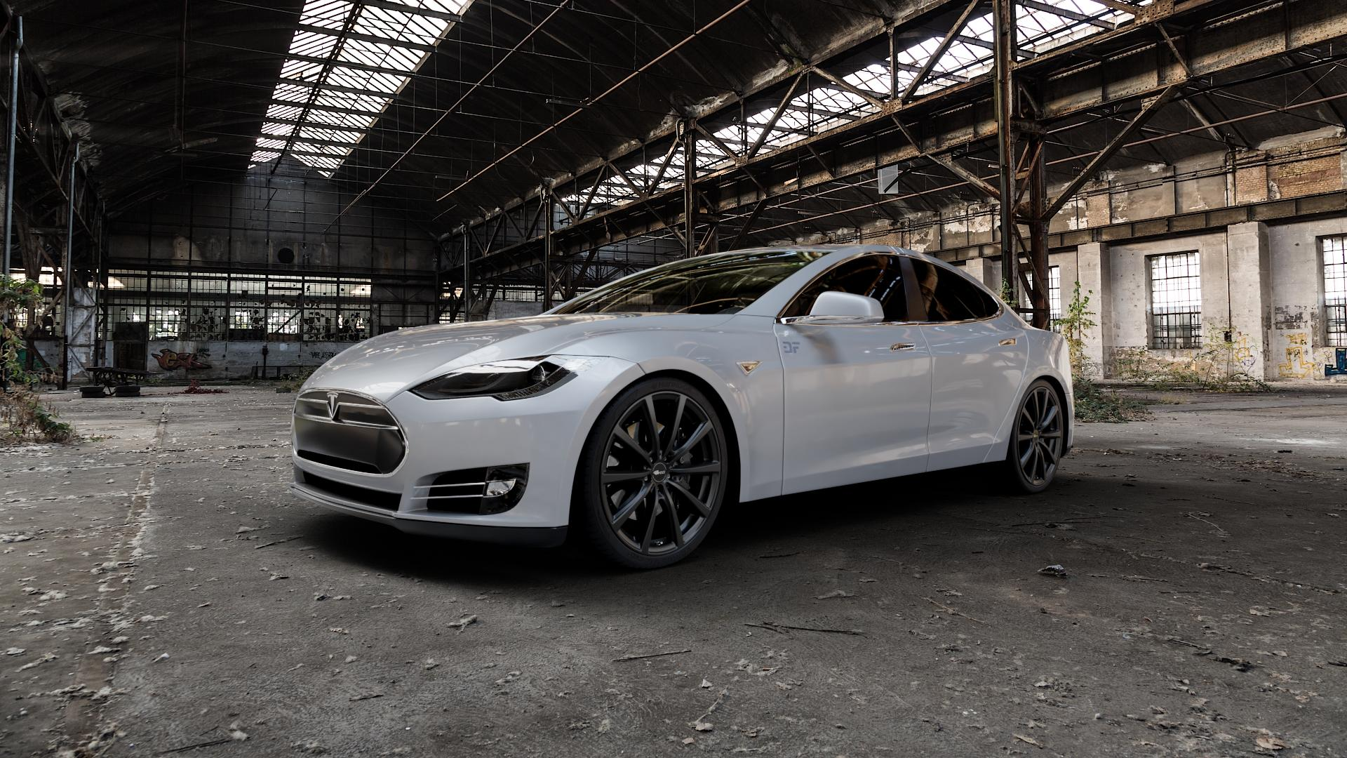 Brock B32 schwarz-matt lackiert Felge mit Reifen in 21Zoll Winterfelge Alufelge auf silbernem Tesla Model S Typ 002 ⬇️ mit 15mm Tieferlegung ⬇️ Industriehalle 1 Camera_000