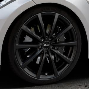 Brock B32 schwarz-matt lackiert Felge mit Reifen in 21Zoll Winterfelge Alufelge auf silbernem Tesla Model S Typ 002 ⬇️ mit 15mm Tieferlegung ⬇️ Industriehalle 1 Thumbnail