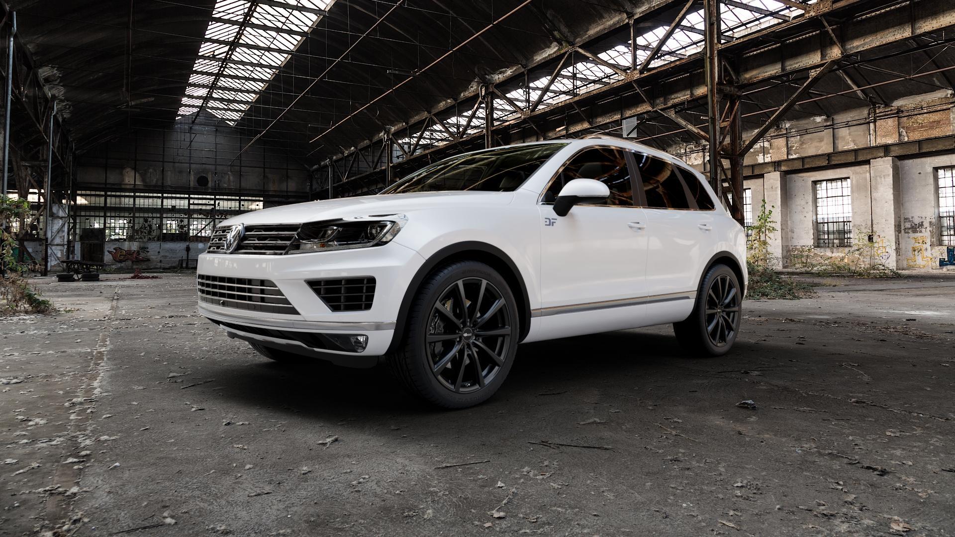 Brock B32 schwarz-matt lackiert Felge mit Reifen in 21Zoll Winterfelge Alufelge auf weissem Volkswagen (VW) Touareg II Typ 7P Facelift ⬇️ mit 15mm Tieferlegung ⬇️ Industriehalle 1 Camera_000