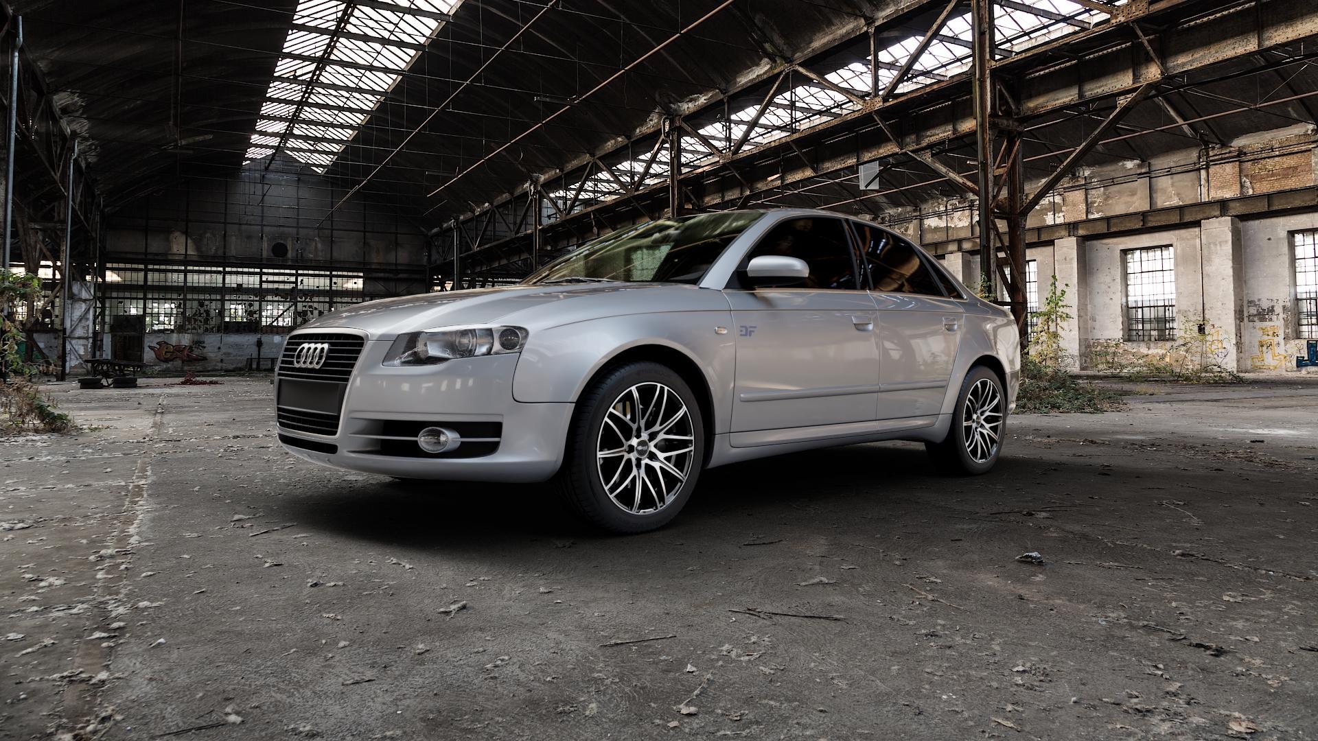 Brock B34 schwarz front-poliert Felge mit Reifen mehrfarbig in 17Zoll Alufelge auf silbernem Audi A4 Typ 8EC/B7 (Limousine) ⬇️ mit 15mm Tieferlegung ⬇️ Industriehalle 1 Camera_000