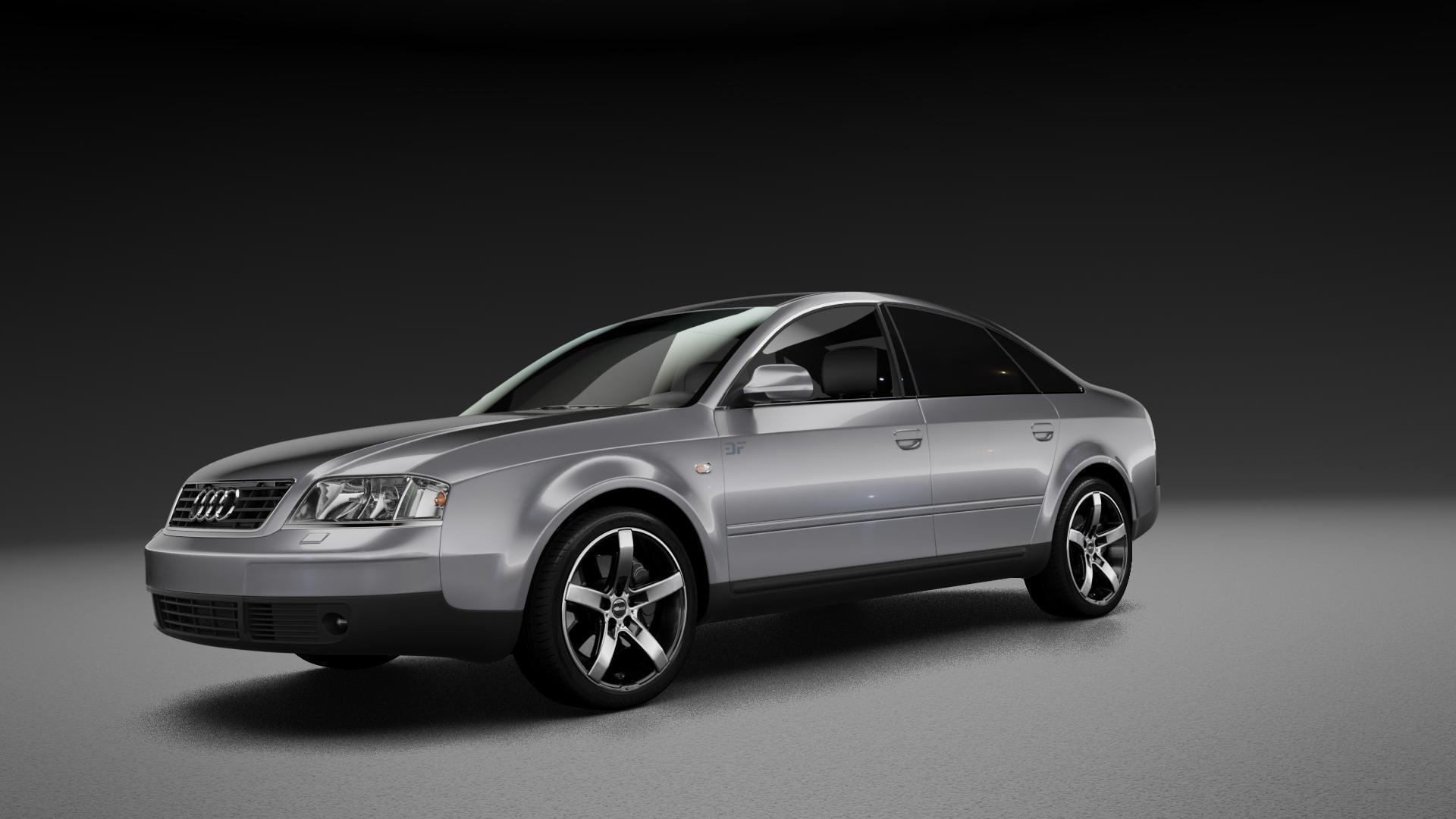 Brock B35 schwarz-matt front-poliert Felge mit Reifen mehrfarbig in 18Zoll Alufelge auf silbernem Audi A6 Typ 4B/C5 (Limousine) ⬇️ mit 15mm Tieferlegung ⬇️ Neutral_mid_max5300mm Frontansicht_1