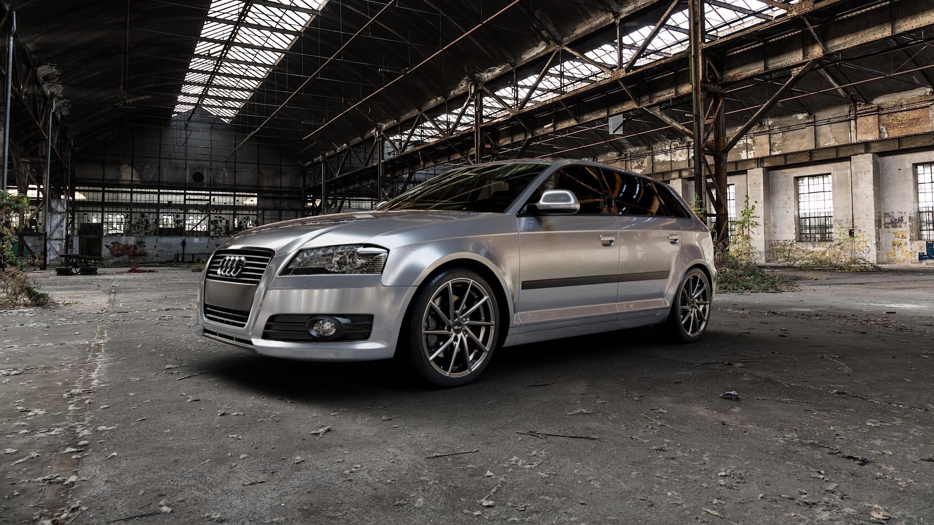 Brock B37 dark-sparkle lackiert Felge mit Reifen grau in 18Zoll Winterfelge Alufelge auf silbernem Audi A3 Typ 8P (Sportback) 1,6l 75kW (102 PS) 2,0l FSI 110kW (150 1,9l TDI 77kW (105 103kW (140 TFSI 147kW (200 85kW (116 100kW (136 1,8l 118kW (160 125kW (170 1,4l 92kW (125 120kW (163 quattro 3,2l V6 184kW (250 S3 195kW (265 1,2l 66kW (90