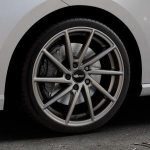 Brock B37 dark-sparkle lackiert Felge mit Reifen grau in 18Zoll Winterfelge Alufelge auf silbernem Seat Ibiza V Typ KJ ⬇️ mit 15mm Tieferlegung ⬇️ Industriehalle 1 Thumbnail