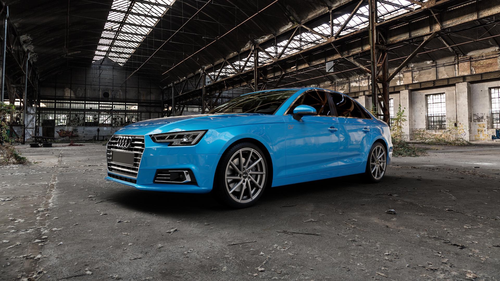Brock B37 dark-sparkle lackiert Felge mit Reifen grau in 19Zoll Winterfelge Alufelge auf hellblau Audi A4 Typ B9 (Limousine) ⬇️ mit 15mm Tieferlegung ⬇️ Industriehalle 1 Camera_000