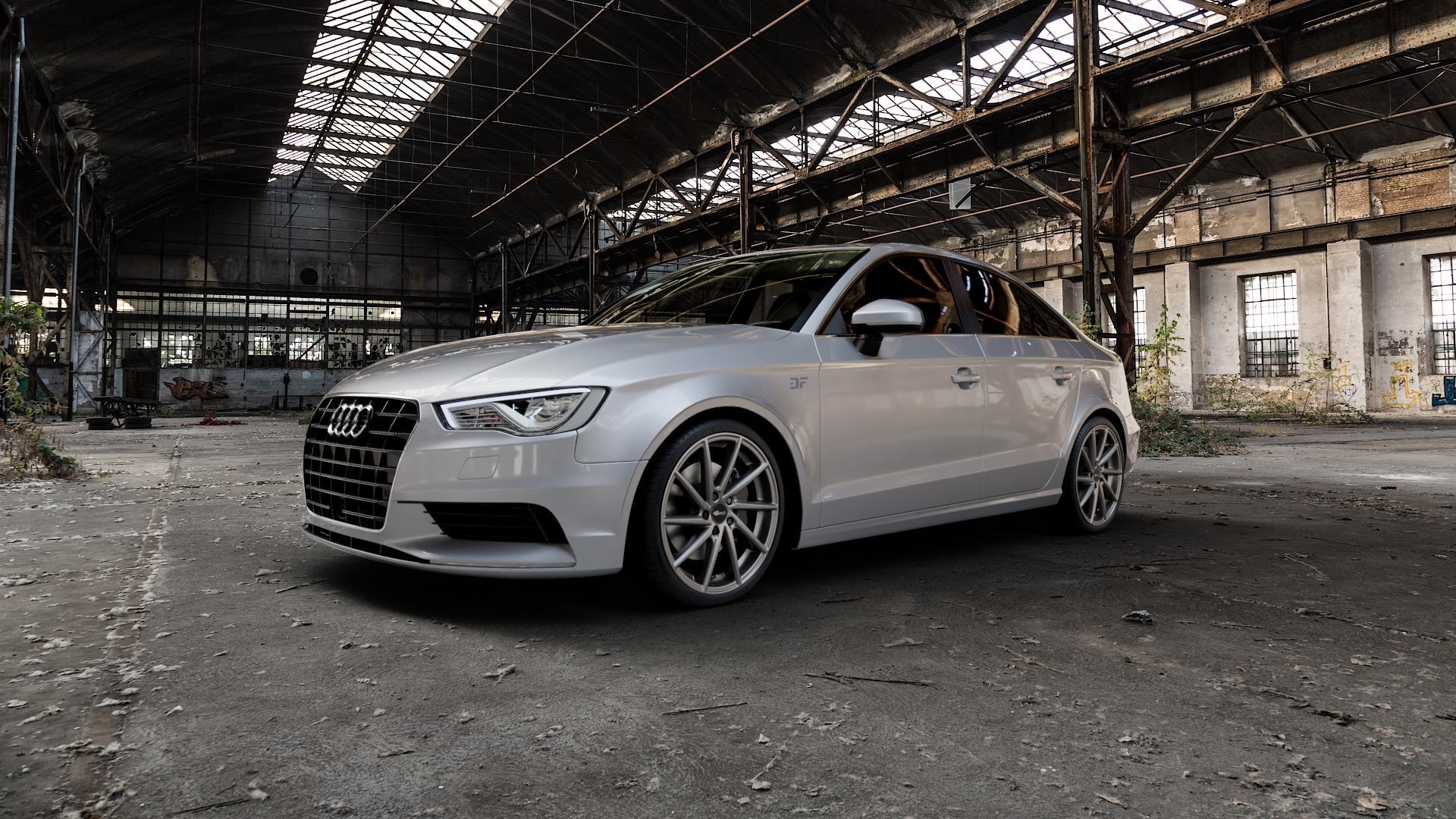 Brock B37 dark-sparkle lackiert Felge mit Reifen grau in 19Zoll Winterfelge Alufelge auf silbernem Audi A3 Typ 8V (Limousine) ⬇️ mit 15mm Tieferlegung ⬇️ Industriehalle 1 Camera_000