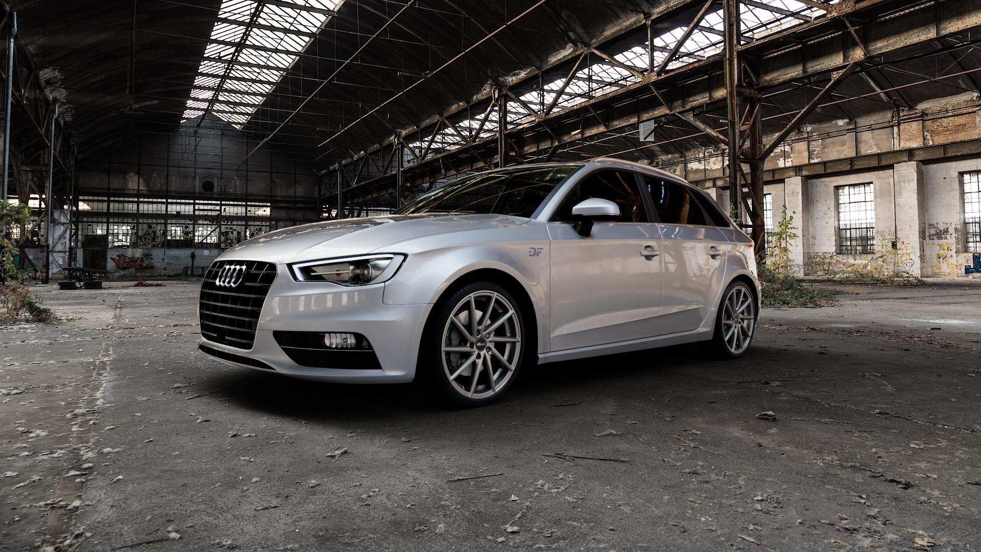 Brock B37 dark-sparkle lackiert Felge mit Reifen grau in 19Zoll Winterfelge Alufelge auf silbernem Audi A3 Typ 8V (Sportback) ⬇️ mit 15mm Tieferlegung ⬇️ Industriehalle 1 Camera_000