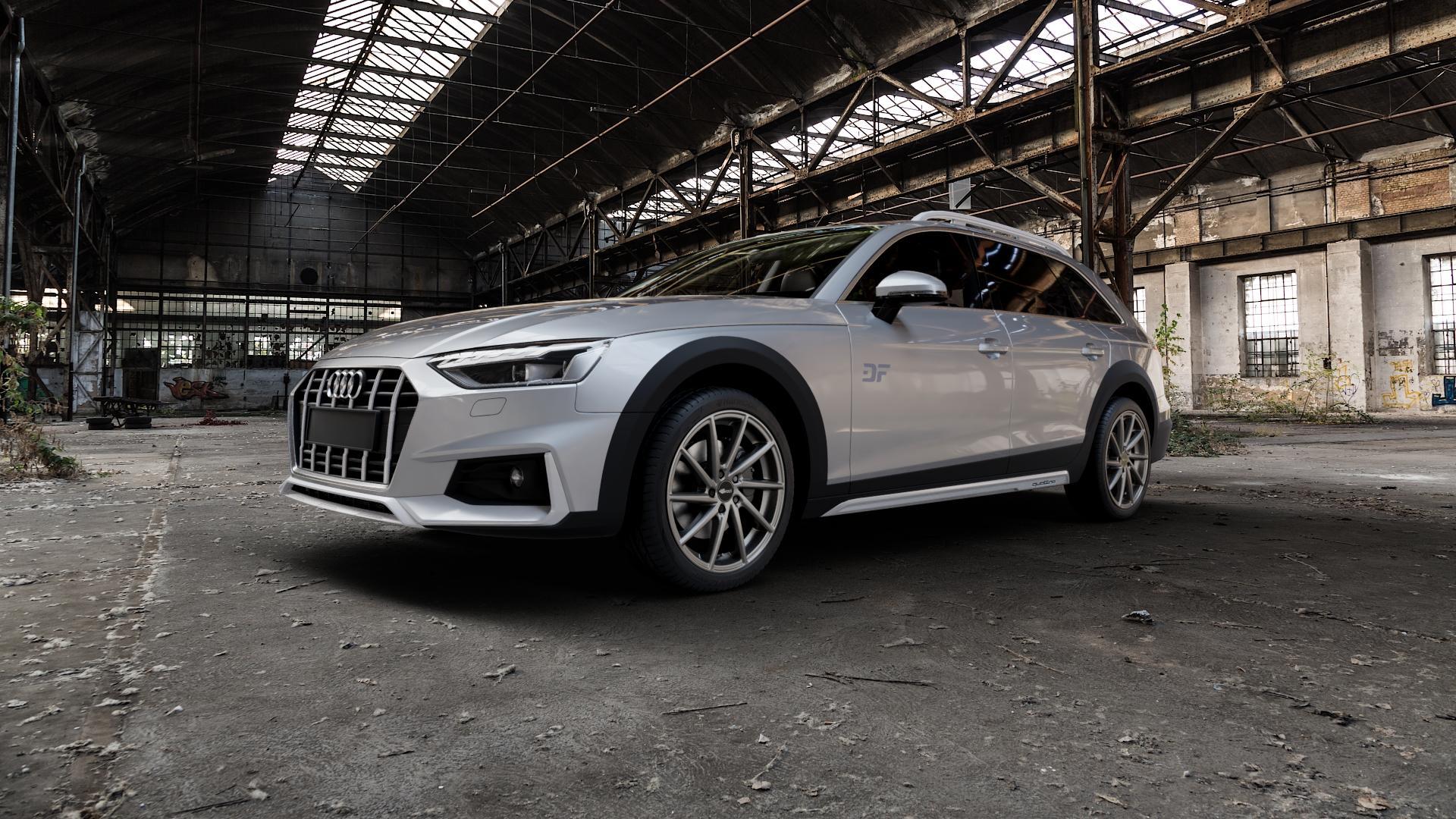 Brock B37 dark-sparkle lackiert Felge mit Reifen grau in 19Zoll Winterfelge Alufelge auf silbernem Audi A4 Typ B9 Allroad Facelift ⬇️ mit 15mm Tieferlegung ⬇️ Industriehalle 1 Camera_000