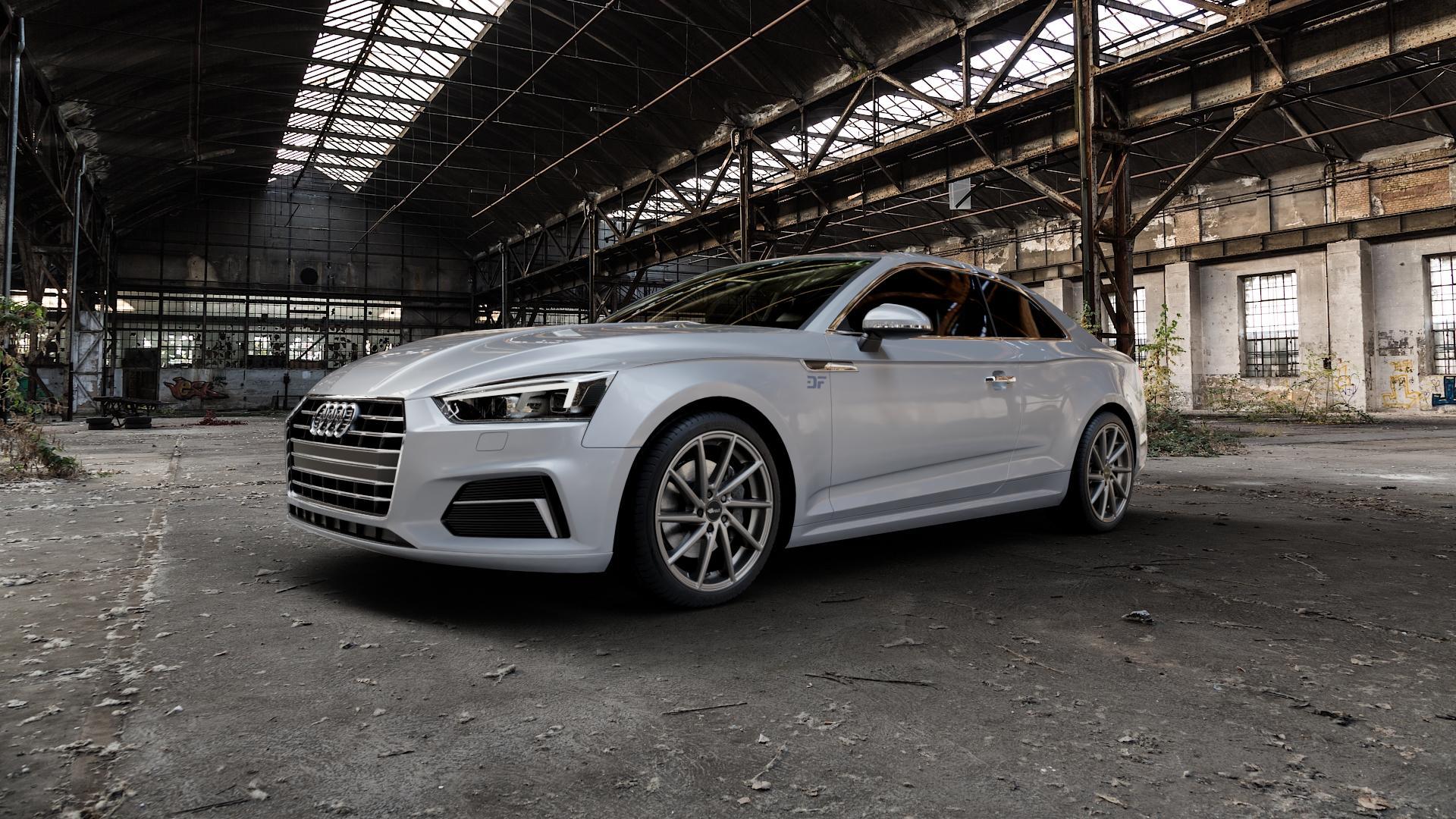 Brock B37 dark-sparkle lackiert Felge mit Reifen grau in 19Zoll Winterfelge Alufelge auf silbernem Audi A5 Typ B9 (Coupé) (Cabriolet) ⬇️ mit 15mm Tieferlegung ⬇️ Industriehalle 1 Camera_000