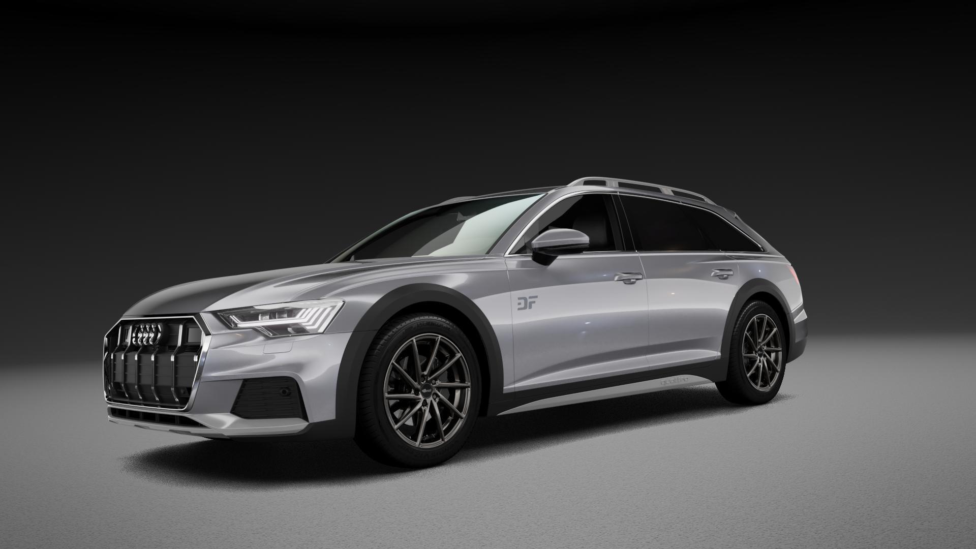 Brock B37 dark-sparkle lackiert Felge mit Reifen grau in 19Zoll Winterfelge Alufelge auf silbernem Audi A6 Allroad Quattro Typ F2/C8 ⬇️ mit 15mm Tieferlegung ⬇️ Neutral_mid_max5300mm Frontansicht_1