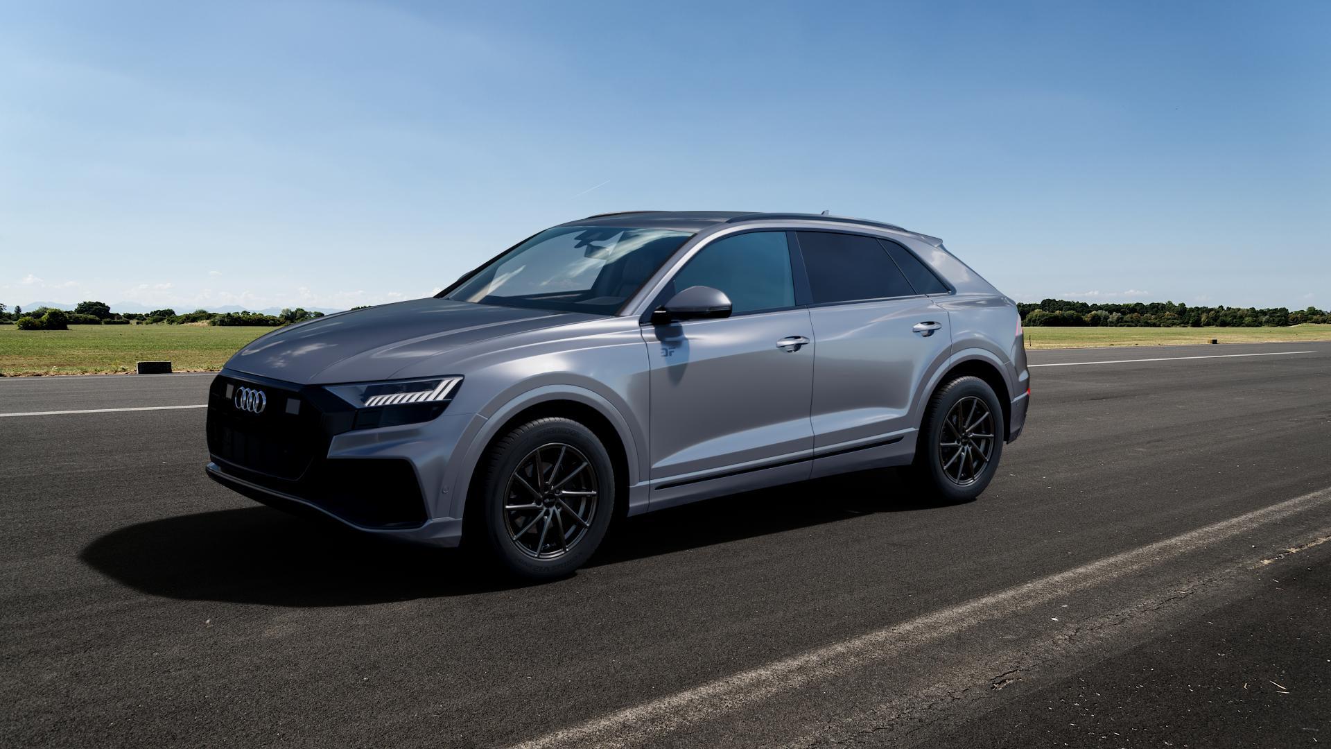 Brock B37 dark-sparkle lackiert Felge mit Reifen grau in 19Zoll Winterfelge Alufelge auf silbernem Audi Q8 Typ 4M (4L) ⬇️ mit 15mm Tieferlegung ⬇️ Big_Vehicle_Airstrip_1 Frontansicht_1