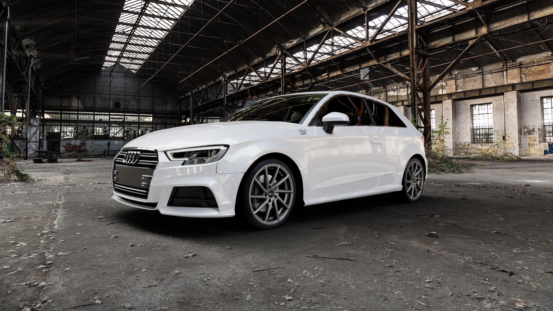 Brock B37 dark-sparkle lackiert Felge mit Reifen grau in 19Zoll Winterfelge Alufelge auf weissem Audi A3 Typ 8V Facelift ⬇️ mit 15mm Tieferlegung ⬇️ Industriehalle 1 Camera_000