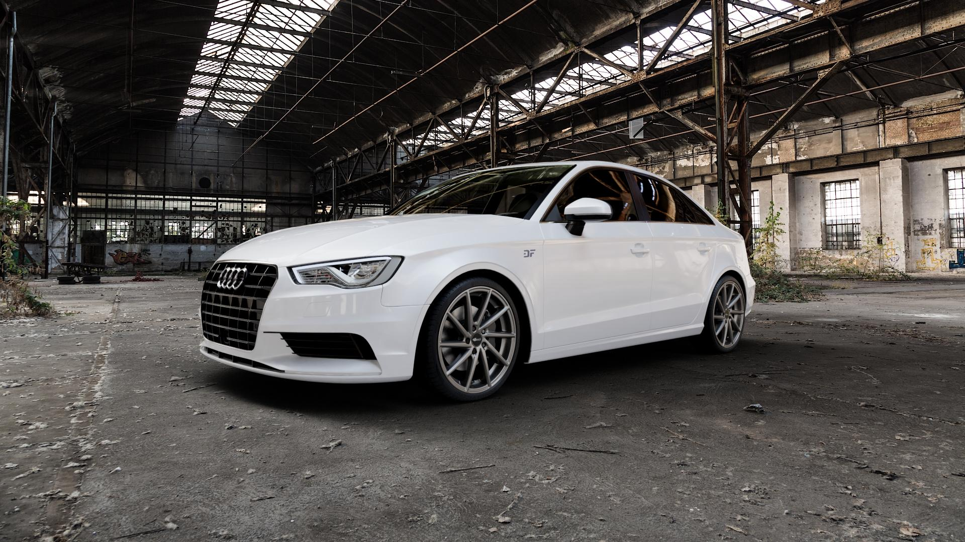 Brock B37 dark-sparkle lackiert Felge mit Reifen grau in 19Zoll Winterfelge Alufelge auf weissem Audi A3 Typ 8V (Limousine) ⬇️ mit 15mm Tieferlegung ⬇️ Industriehalle 1 Camera_000