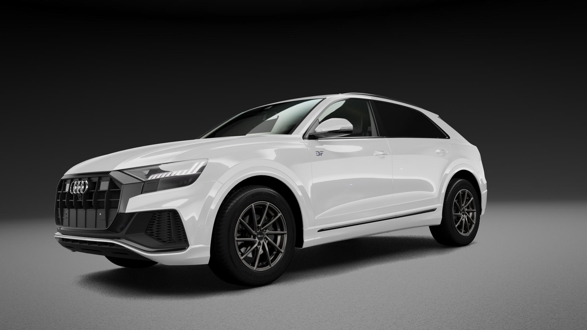 Brock B37 dark-sparkle lackiert Felge mit Reifen grau in 19Zoll Winterfelge Alufelge auf weissem Audi Q8 Typ 4M (4L) ⬇️ mit 15mm Tieferlegung ⬇️ Neutral_mid_max5300mm Frontansicht_1