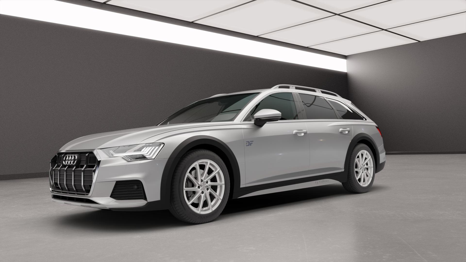 Brock B37 kristallsilber front-poliert Felge mit Reifen in 19Zoll Alufelge auf silbernem Audi A6 Allroad Quattro Typ F2/C8 ⬇️ mit 15mm Tieferlegung ⬇️ Neutral_mid_max5300mm Frontansicht_1