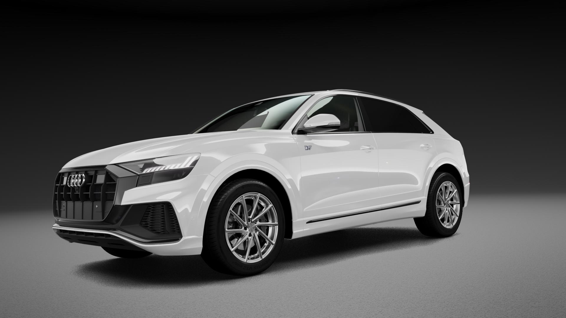 Brock B37C kristallsilber front-poliert Felge mit Reifen in 20Zoll Alufelge auf weissem Audi Q8 Typ 4M (4L) ⬇️ mit 15mm Tieferlegung ⬇️ Neutral_mid_max5300mm Frontansicht_1