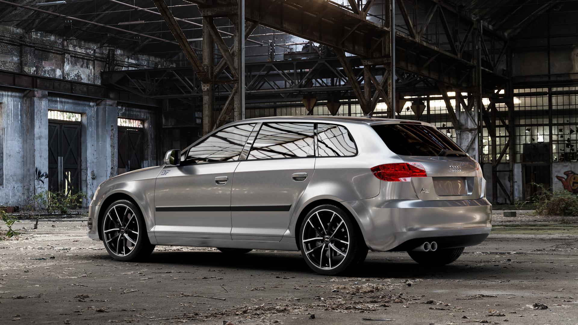 Brock B38 schwarz front-poliert Felge mit Reifen mehrfarbig in 18Zoll Alufelge auf silbernem Audi A3 Typ 8P (Sportback) 1,6l 75kW (102 PS) 2,0l FSI 110kW (150 1,9l TDI 77kW (105 103kW (140 TFSI 147kW (200 85kW (116 100kW (136 1,8l 118kW (160 125kW (170 1,4l 92kW (125 120kW (163 quattro 3,2l V6 184kW (250 S3 195kW (265 1,2l 66kW (90