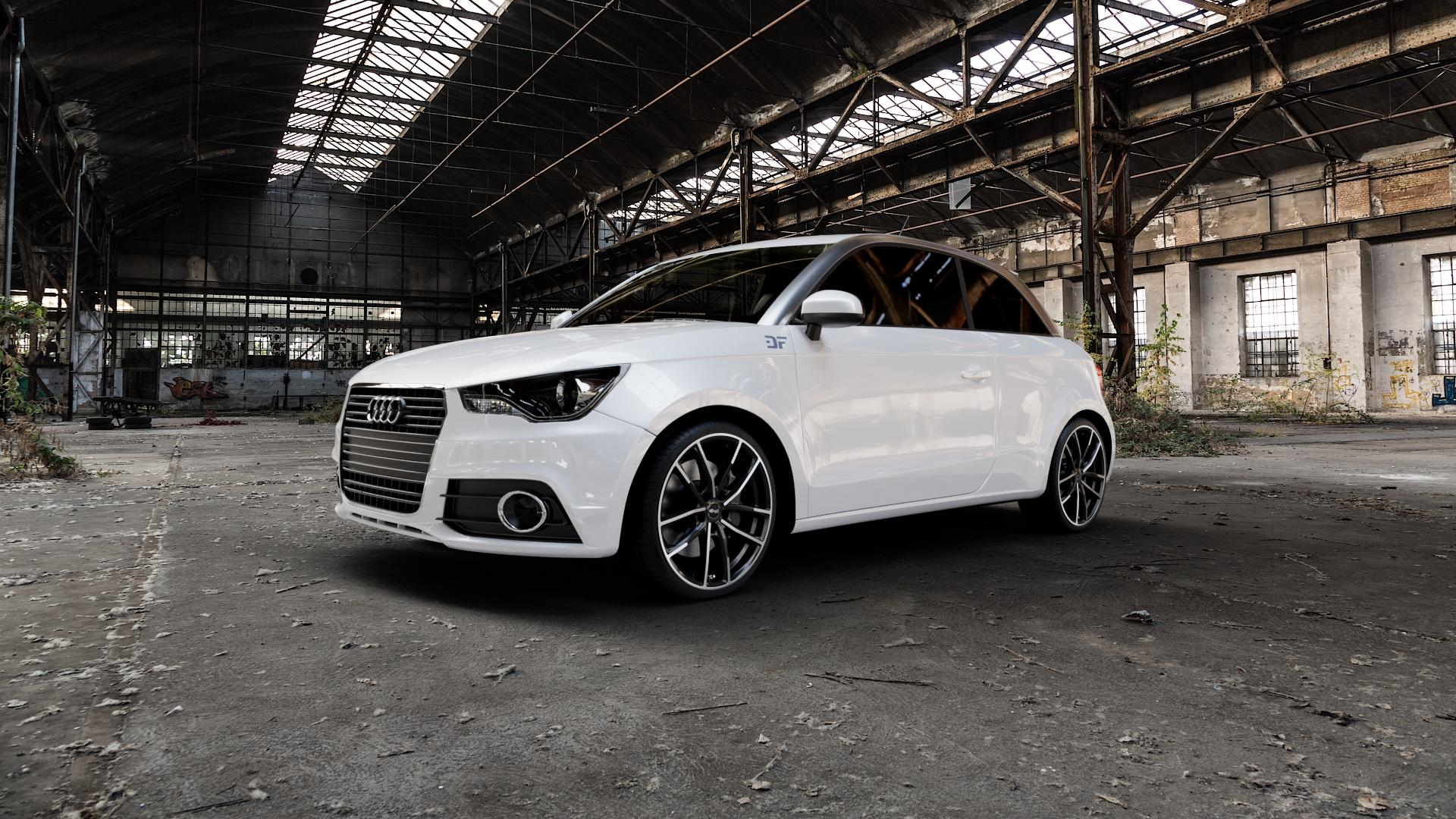 Brock B38 schwarz front-poliert Felge mit Reifen mehrfarbig in 18Zoll Alufelge auf weissem Audi A1 Typ 8X ⬇️ mit 15mm Tieferlegung ⬇️ Industriehalle 1 Camera_000