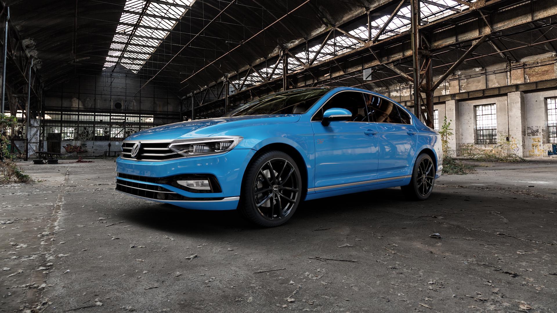 Brock B38 schwarz lackiert Felge mit Reifen in 19Zoll Winterfelge Alufelge auf hellblau Volkswagen (VW) Passat 3C/B8 Limousine Facelift ⬇️ mit 15mm Tieferlegung ⬇️ Industriehalle 1 Camera_000