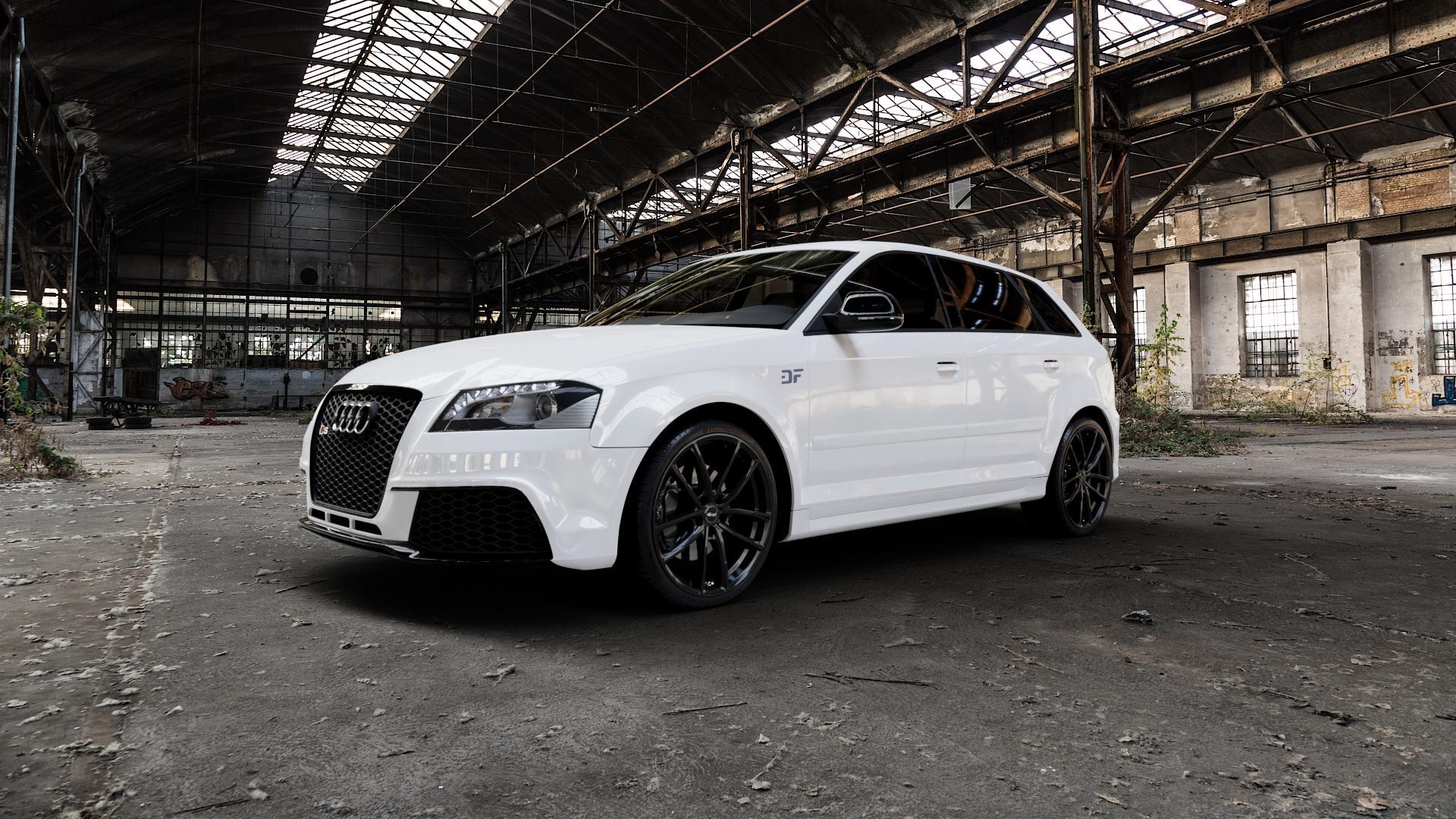 Brock B38 schwarz lackiert Felge mit Reifen in 19Zoll Winterfelge Alufelge auf weissem Audi A3 Typ 8P (Sportback) 2,5l RS3 quattro 250kW (340 PS) ⬇️ mit 15mm Tieferlegung ⬇️ Industriehalle 1 Camera_000