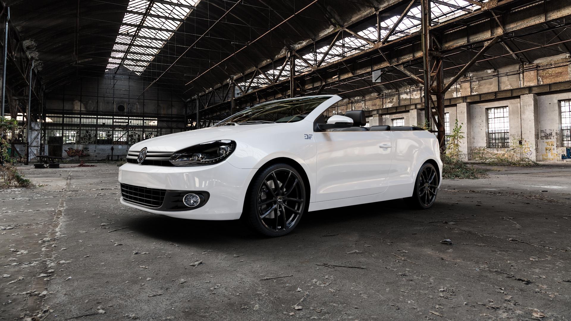 Brock B38 schwarz lackiert Felge mit Reifen in 19Zoll Winterfelge Alufelge auf weissem Volkswagen (VW) Golf 6 Cabrio ⬇️ mit 15mm Tieferlegung ⬇️ Industriehalle 1 Camera_000