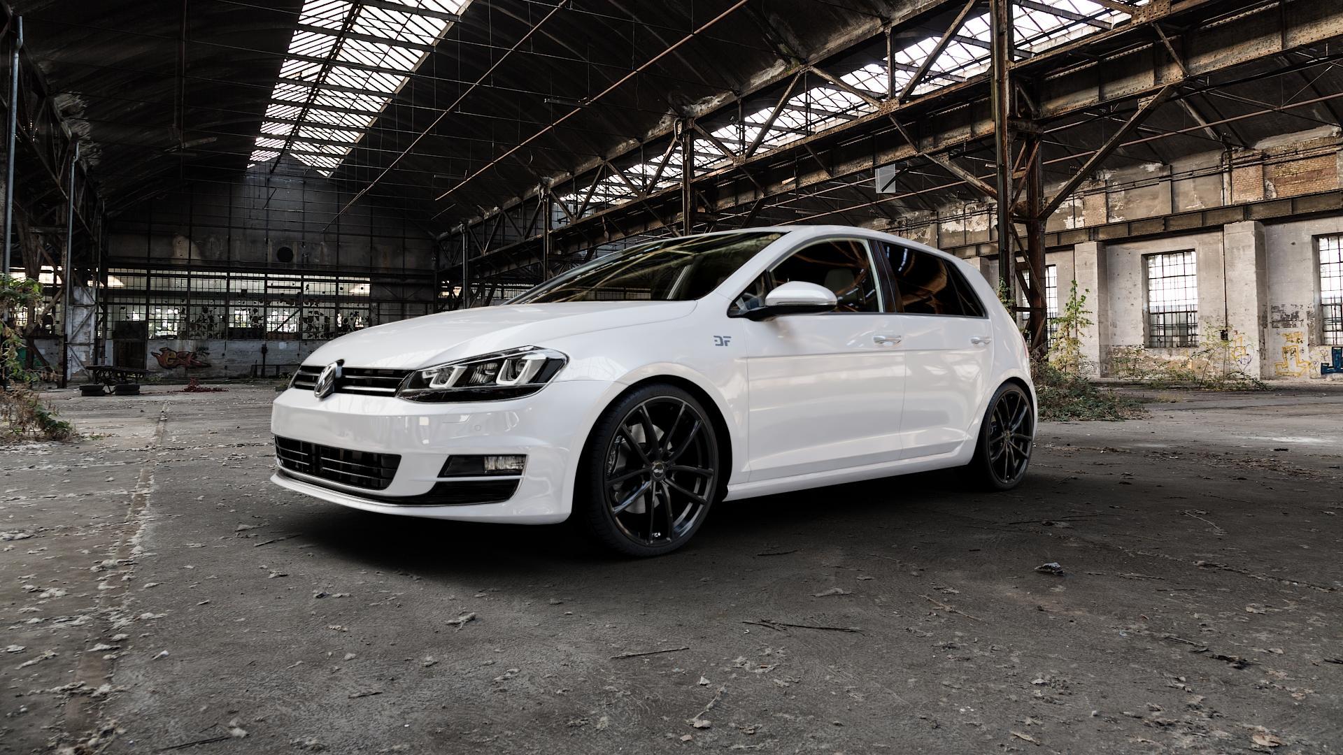 Brock B38 schwarz lackiert Felge mit Reifen in 19Zoll Winterfelge Alufelge auf weissem Volkswagen (VW) Golf 7 ⬇️ mit 15mm Tieferlegung ⬇️ Industriehalle 1 Camera_000