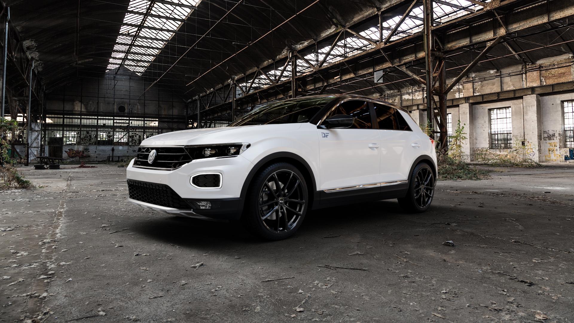 Brock B38 schwarz lackiert Felge mit Reifen in 19Zoll Winterfelge Alufelge auf weissem Volkswagen (VW) T-Roc ⬇️ mit 15mm Tieferlegung ⬇️ Industriehalle 1 Camera_000
