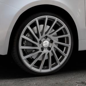 Brock B39 himalaya-grey-matt lackiert Felge mit Reifen grau in 18Zoll Winterfelge Alufelge auf silbernem Fiat 500 Typ 312 Cabrio Facelift ⬇️ mit 15mm Tieferlegung ⬇️ Industriehalle 1 Thumbnail