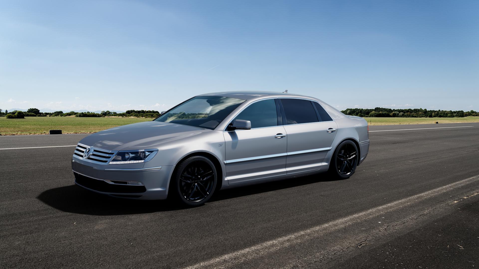CARMANI 13 Twinmax black Felge mit Reifen schwarz in 19Zoll Winterfelge Alufelge auf silbernem Volkswagen (VW) Phaeton Typ 3D (Facelift 10->) ⬇️ mit 15mm Tieferlegung ⬇️ Big_Vehicle_Airstrip_1 Frontansicht_1
