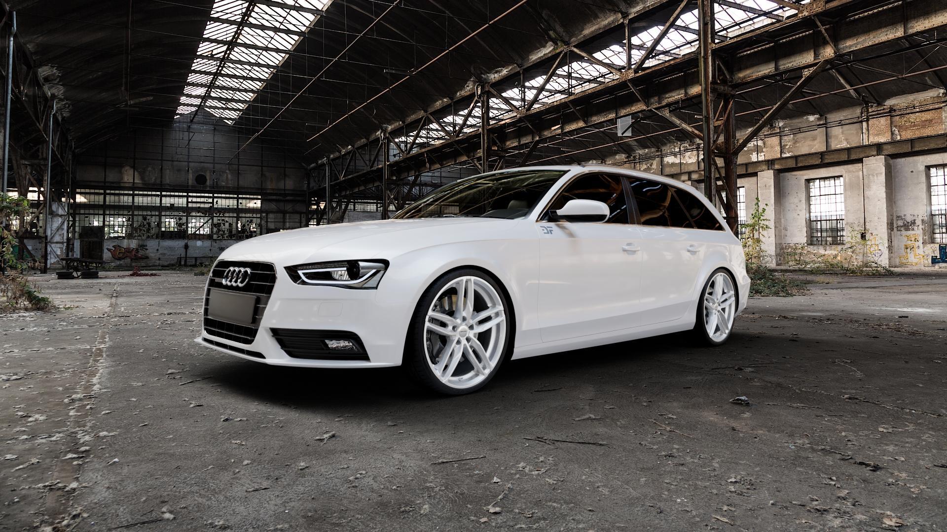 CARMANI 13 Twinmax white silver Felge mit Reifen silber weiss in 20Zoll Winterfelge Alufelge auf weissem Audi A4 Typ 8K5/B8 (Avant) Facelift ⬇️ mit 15mm Tieferlegung ⬇️ Industriehalle 1 Camera_000