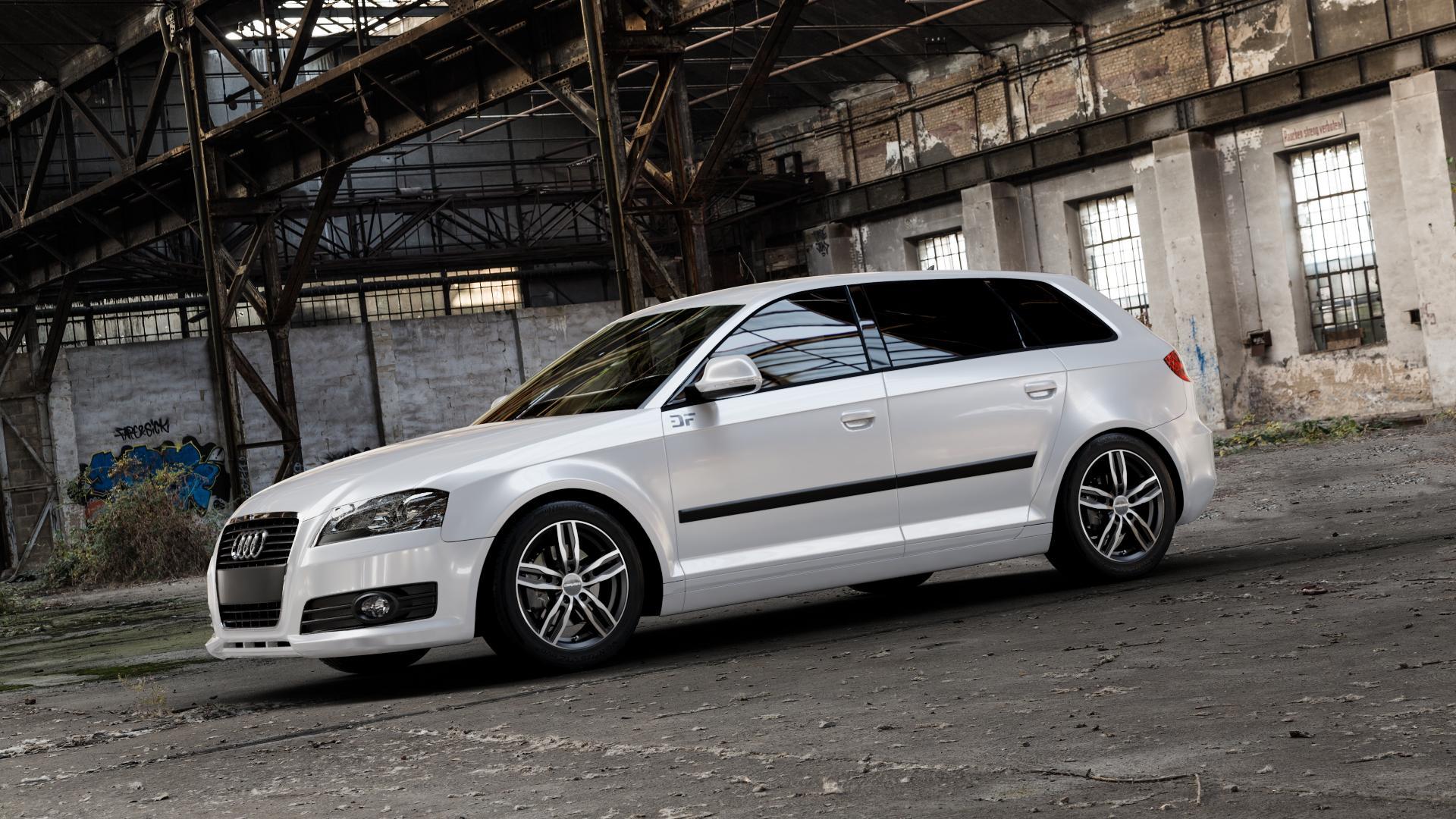 CARMANI 14 Paul black polish Felge mit Reifen silber schwarz mehrfarbig in 16Zoll Alufelge auf weissem Audi A3 Typ 8P (Sportback) 1,6l 75kW (102 PS) 2,0l FSI 110kW (150 1,9l TDI 77kW (105 103kW (140 TFSI 147kW (200 85kW (116 100kW (136 1,8l 118kW (160 125kW (170 1,4l 92kW (125 120kW (163 quattro 3,2l V6 184kW (250 S3 195kW (265 1,2l 66kW (90 18