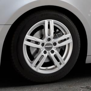 CARMANI 14 Paul kristall silber Felge mit Reifen in 16Zoll Winterfelge Alufelge auf silbernem Audi A4 Typ B9 (Avant) ⬇️ mit 15mm Tieferlegung ⬇️ Industriehalle 1 Thumbnail