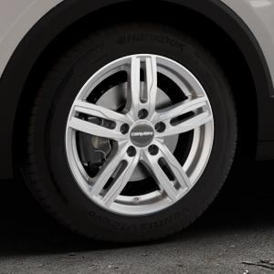 CARMANI 14 Paul kristall silber Felge mit Reifen in 16Zoll Winterfelge Alufelge auf silbernem Volkswagen (VW) T-Cross ⬇️ mit 15mm Tieferlegung ⬇️ Industriehalle 1 Thumbnail