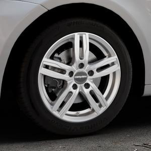 CARMANI 14 Paul kristall silber Felge mit Reifen in 16Zoll Winterfelge Alufelge auf silbernem Volkswagen (VW) Touran I Typ 1T II ⬇️ mit 15mm Tieferlegung ⬇️ Industriehalle 1 Thumbnail