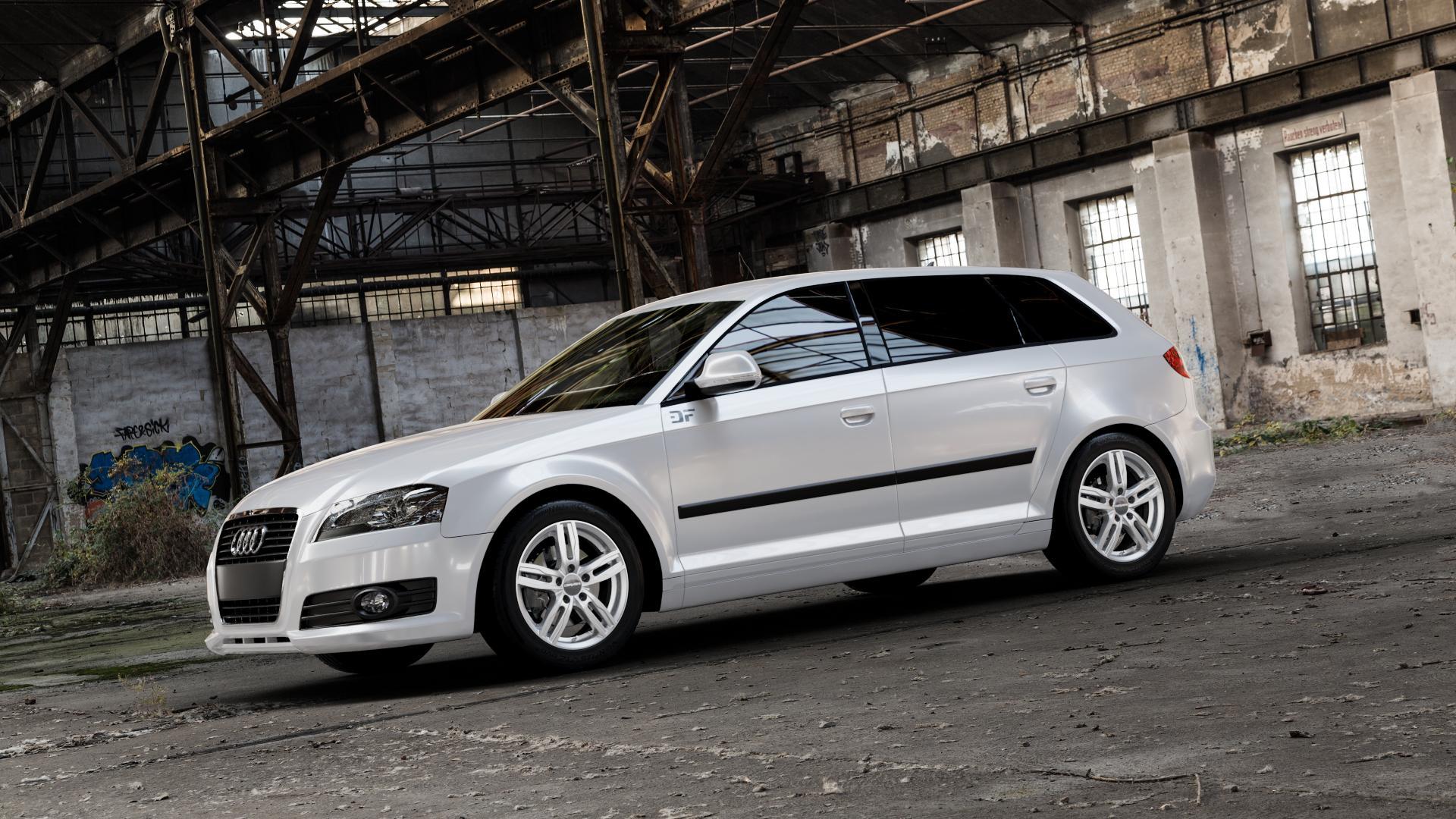 CARMANI 14 Paul kristall silber Felge mit Reifen in 16Zoll Winterfelge Alufelge auf weissem Audi A3 Typ 8P (Sportback) 1,6l 75kW (102 PS) 2,0l FSI 110kW (150 1,9l TDI 77kW (105 103kW (140 TFSI 147kW (200 85kW (116 100kW (136 1,8l 118kW (160 125kW (170 1,4l 92kW (125 120kW (163 quattro 3,2l V6 184kW (250 S3 195kW (265 1,2l 66kW (90 18