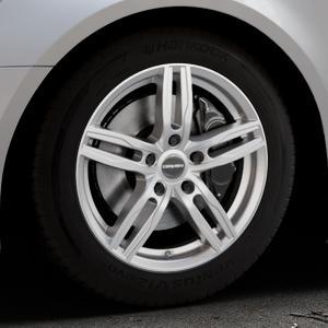 CARMANI 14 Paul kristall silber Felge mit Reifen in 17Zoll Winterfelge Alufelge auf silbernem Audi A6 Typ 4G/C7 (Avant) Facelift ⬇️ mit 15mm Tieferlegung ⬇️ Industriehalle 1 Thumbnail