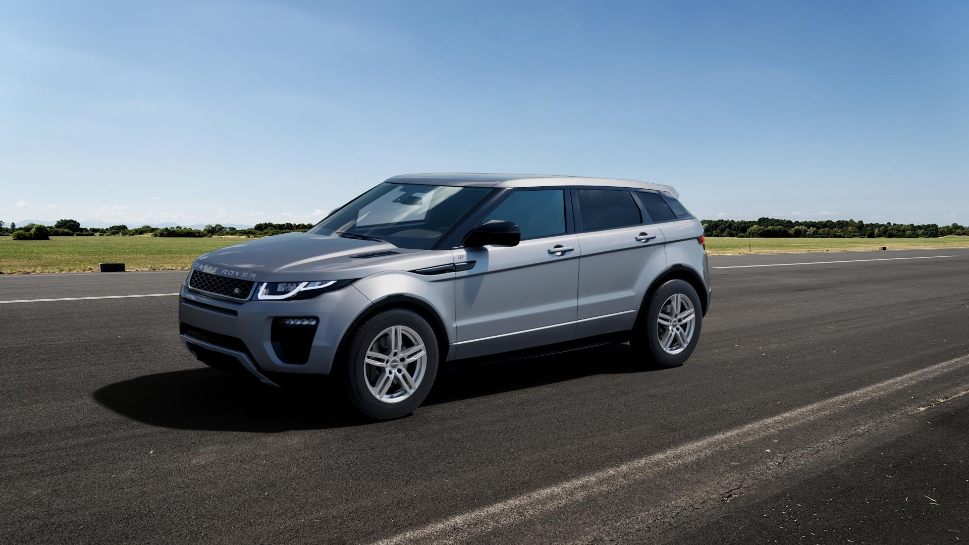 CARMANI 14 Paul kristall silber Felge mit Reifen in 17Zoll Winterfelge Alufelge auf silbernem Land Rover Range Evoque Typ LV Facelift ⬇️ mit 15mm Tieferlegung ⬇️ Big_Vehicle_Airstrip_1 Frontansicht_1