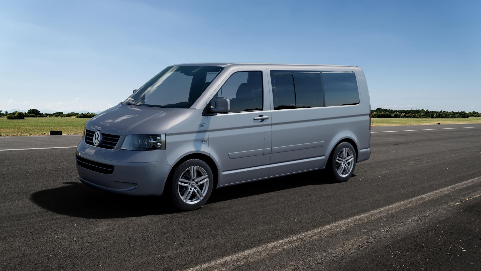 CARMANI 14 Paul kristall silber Felge mit Reifen in 17Zoll Winterfelge Alufelge auf silbernem Volkswagen (VW) T5 Business California Caravelle Kombi Multivan ⬇️ mit 15mm Tieferlegung ⬇️ Big_Vehicle_Airstrip_1 Frontansicht_1