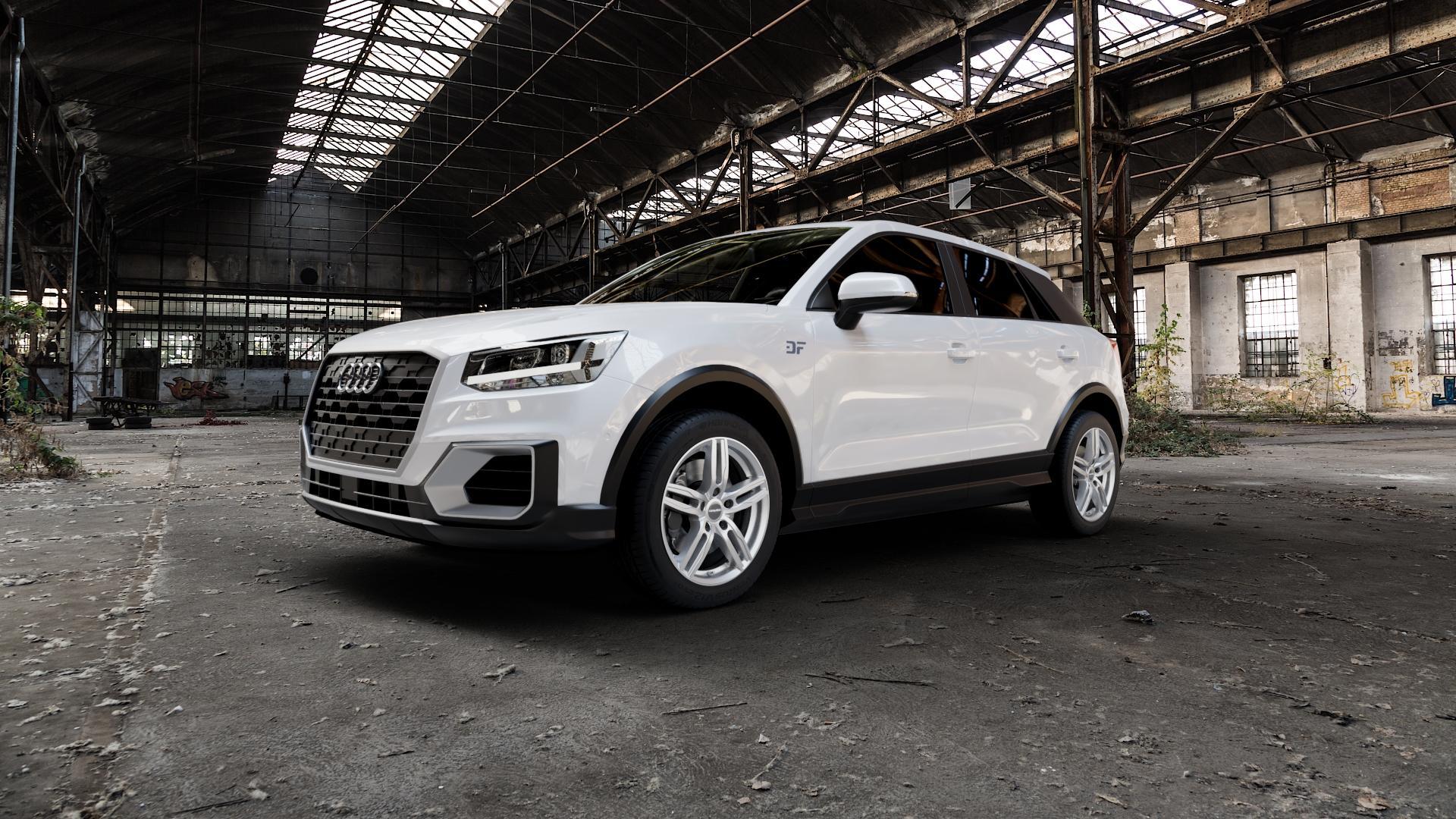 CARMANI 14 Paul kristall silber Felge mit Reifen in 17Zoll Winterfelge Alufelge auf weissem Audi Q2 Typ GA ⬇️ mit 15mm Tieferlegung ⬇️ Industriehalle 1 Camera_000