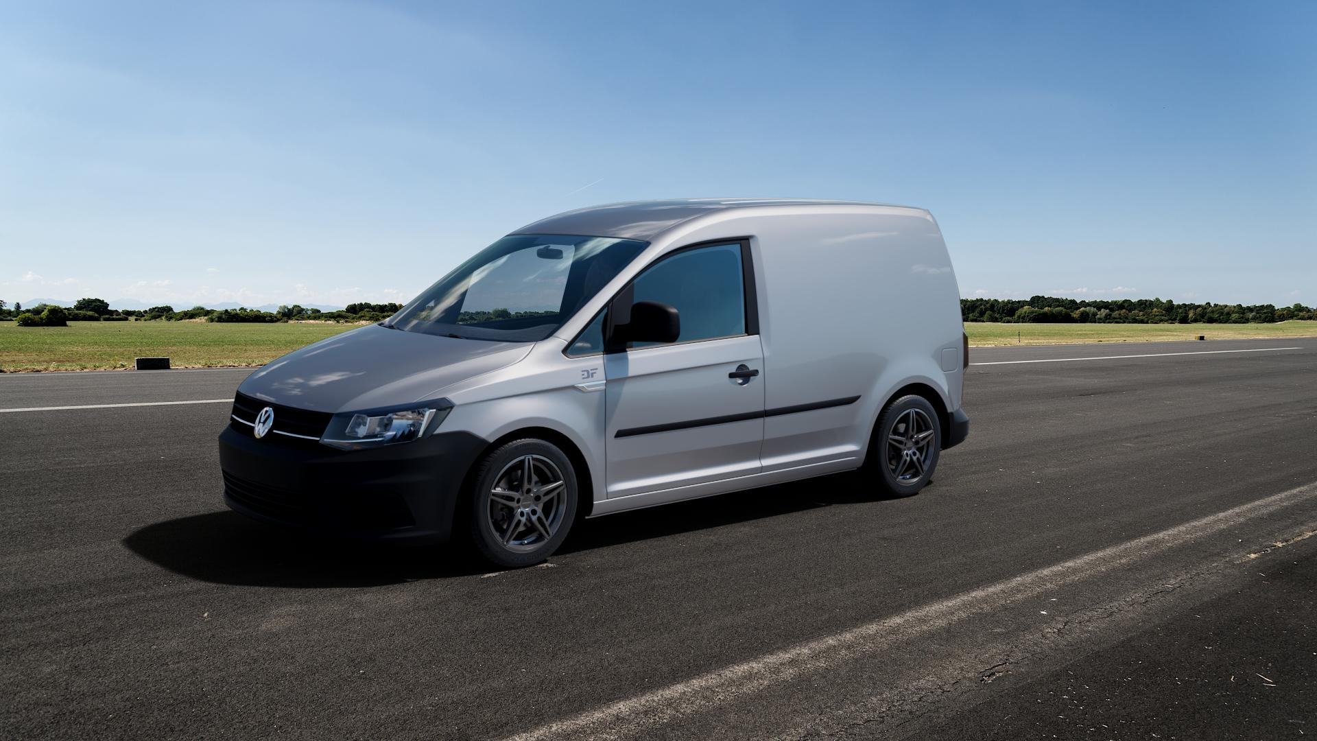 CARMANI 15 Oskar hyper gun Felge mit Reifen silber in 16Zoll Winterfelge Alufelge auf silbernem Volkswagen (VW) Caddy 4 ⬇️ mit 15mm Tieferlegung ⬇️ Big_Vehicle_Airstrip_1 Frontansicht_1