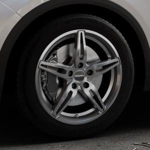 CARMANI 15 Oskar hyper gun Felge mit Reifen silber in 17Zoll Winterfelge Alufelge auf silbernem Volkswagen (VW) T-Roc ⬇️ mit 15mm Tieferlegung ⬇️ Industriehalle 1 Thumbnail