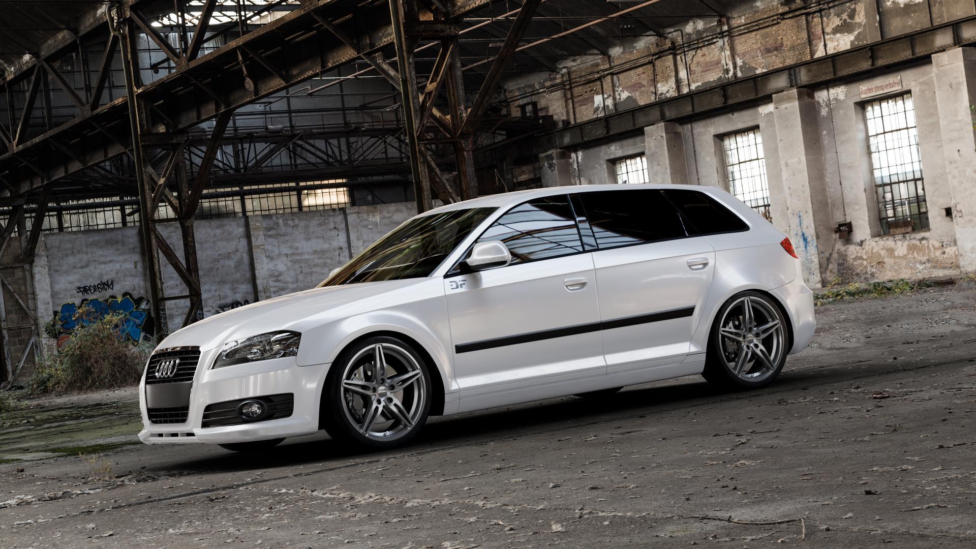 CARMANI 15 Oskar hyper gun Felge mit Reifen silber in 18Zoll Winterfelge Alufelge auf weissem Audi A3 Typ 8P (Sportback) 1,6l 75kW (102 PS) 2,0l FSI 110kW (150 1,9l TDI 77kW (105 103kW (140 TFSI 147kW (200 85kW (116 100kW (136 1,8l 118kW (160 125kW (170 1,4l 92kW (125 120kW (163 quattro 3,2l V6 184kW (250 S3 195kW (265 1,2l 66kW (90 18