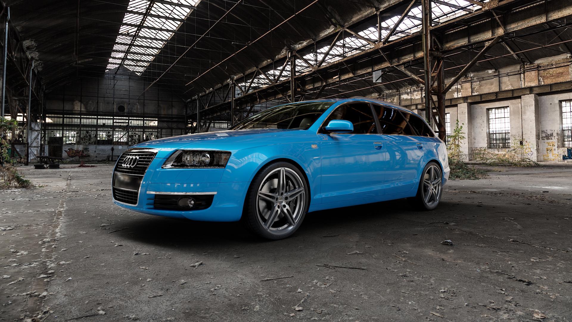 CARMANI 15 Oskar hyper gun Felge mit Reifen silber in 20Zoll Winterfelge Alufelge auf hellblau Audi A6 Typ 4F/C6 (Avant) ⬇️ mit 15mm Tieferlegung ⬇️ Industriehalle 1 Camera_000