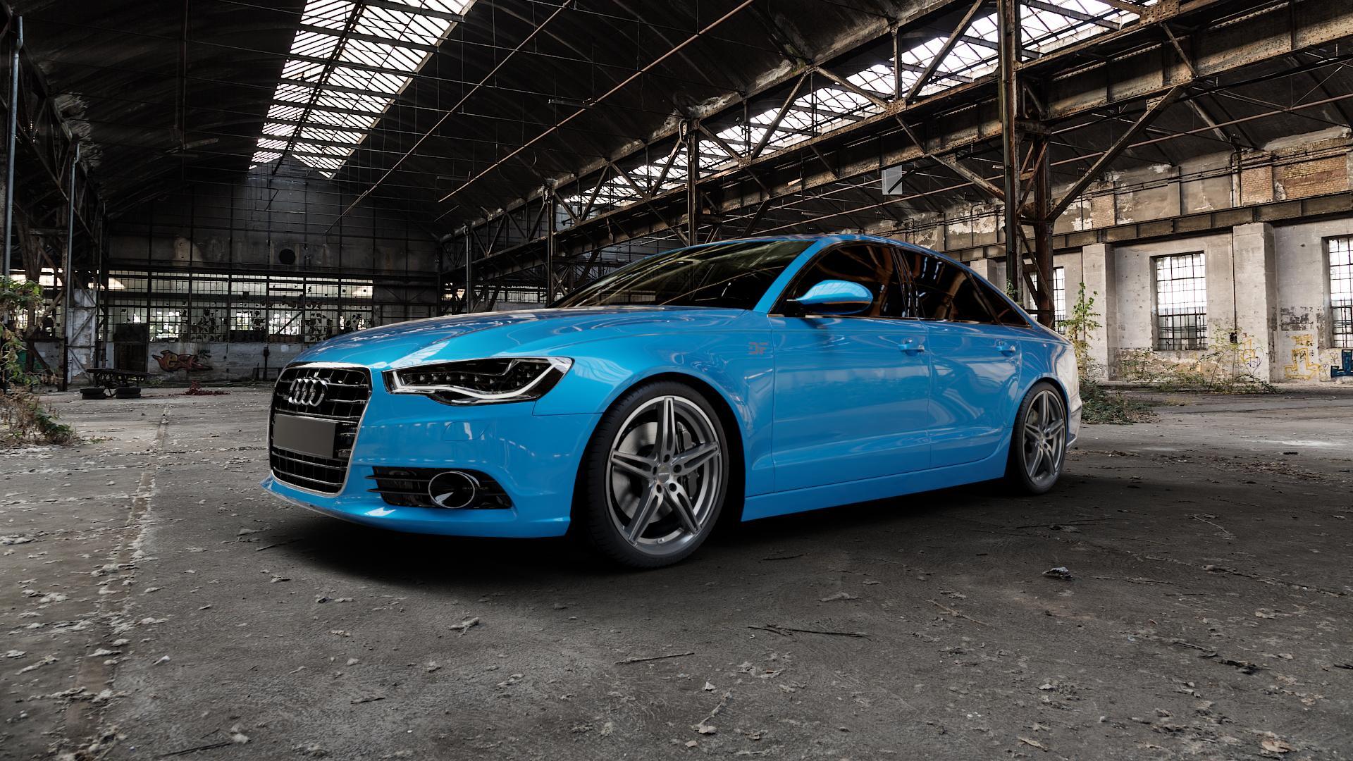 CARMANI 15 Oskar hyper gun Felge mit Reifen silber in 20Zoll Winterfelge Alufelge auf hellblau Audi A6 Typ 4G/C7 (Limousine) ⬇️ mit 15mm Tieferlegung ⬇️ Industriehalle 1 Camera_000