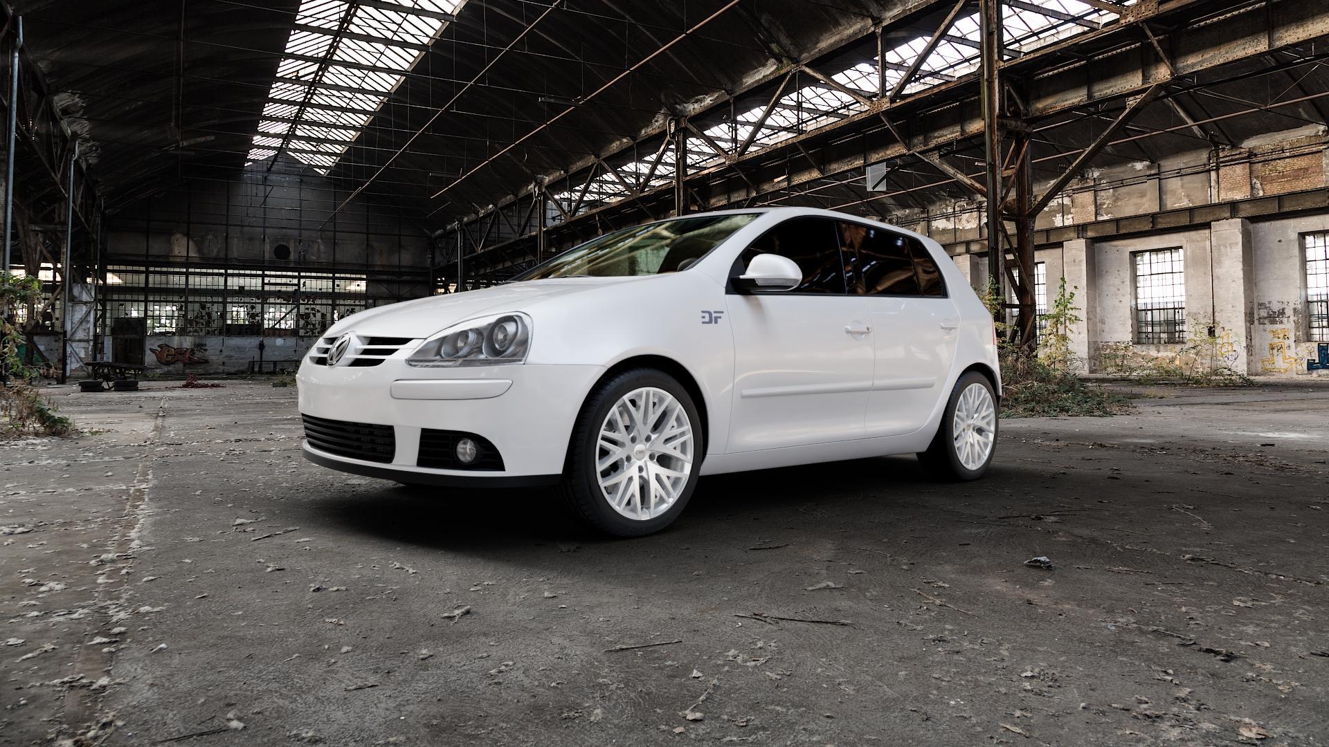 CMS B1 Racing Silver Felge mit Reifen silber in 17Zoll Winterfelge Alufelge auf weissem Volkswagen (VW) Golf 5 Plus ⬇️ mit 15mm Tieferlegung ⬇️ Industriehalle 1 Camera_000