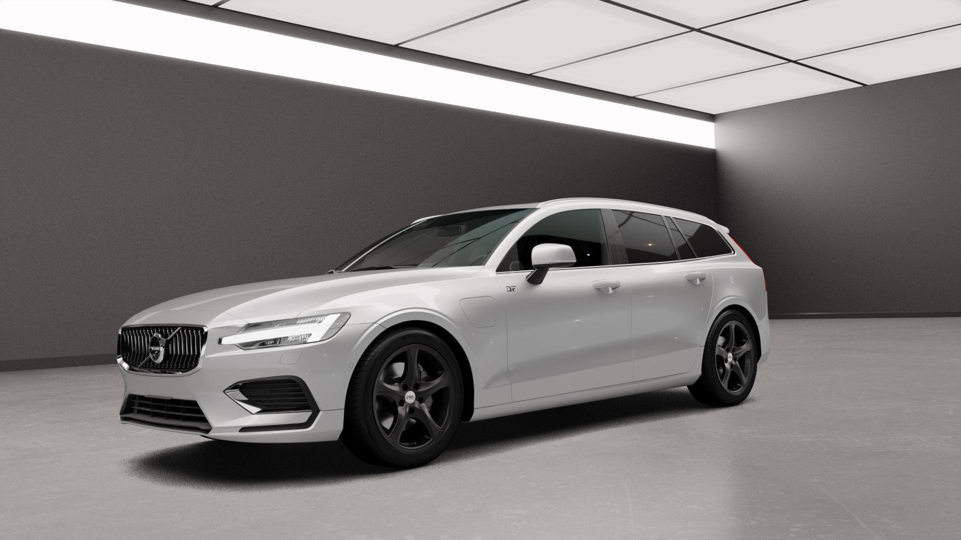 CMS C12 Complete Matt Black Felge mit Reifen schwarz in 18Zoll Winterfelge Alufelge auf silbernem Volvo V60 Typ Z ⬇️ mit 15mm Tieferlegung ⬇️ Neutral_mid_max5300mm Frontansicht_1